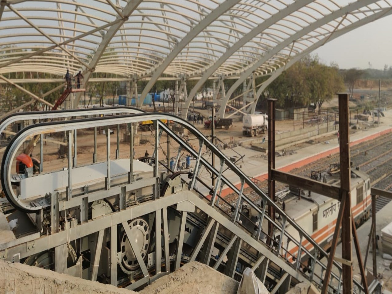 Escalator installation at PF-2&3 at Gandhinagar Railway Station
