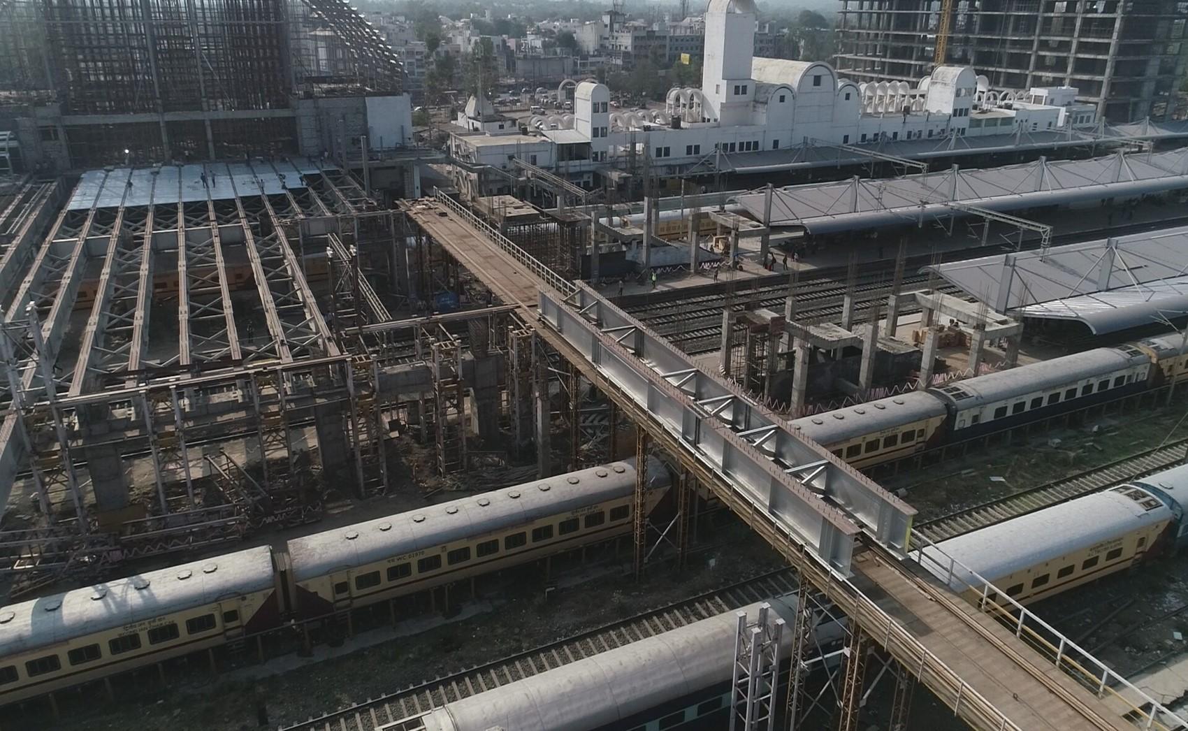Girder launching in progress at Gandhinagar Railway Station