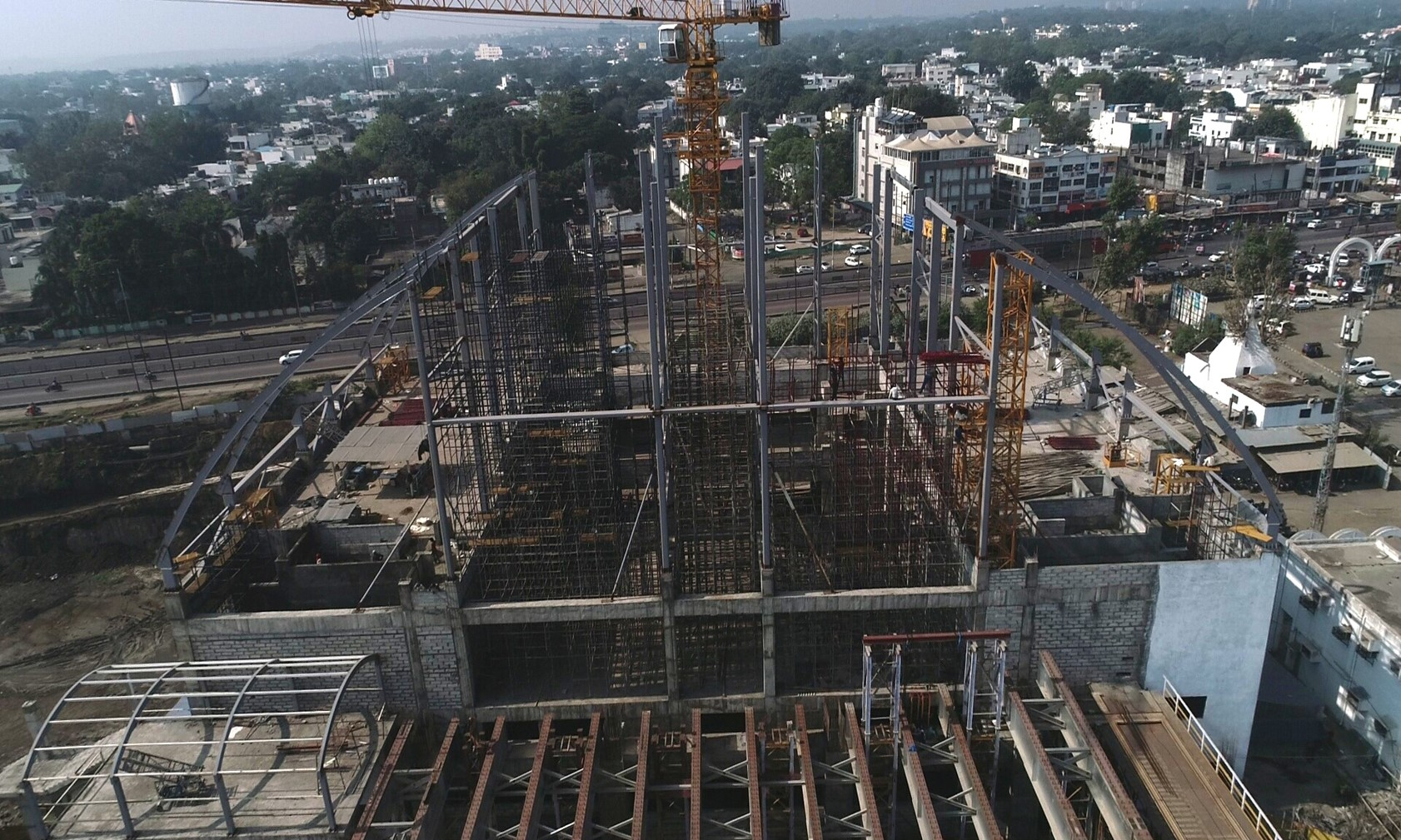 West building Dome erection at Habibganj Railway Station