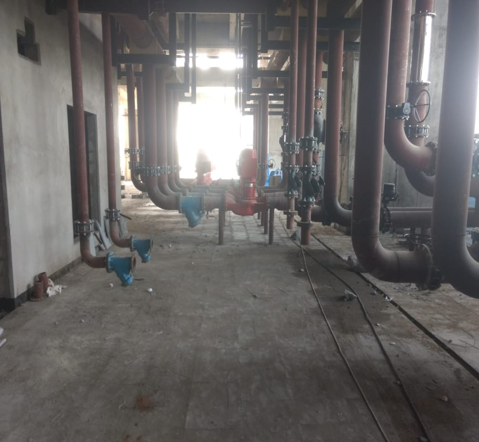 Kota Stone flooring work in Progress by M/s Dhanjibhai K Patel at Plant Room  at Habibganj Railway Station