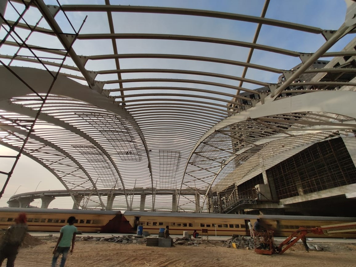 Polycarbonate sheet installation  is in progress at South at Gandhinagar Railway Station