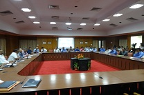 Front view of meeting hall for Indian Railway Station Development Corporation IRSDC